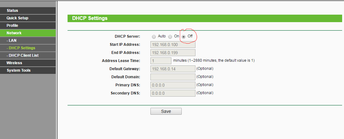 DHCP Must Be OFF